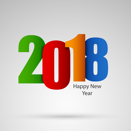 New Year wishes with colored numbers design template