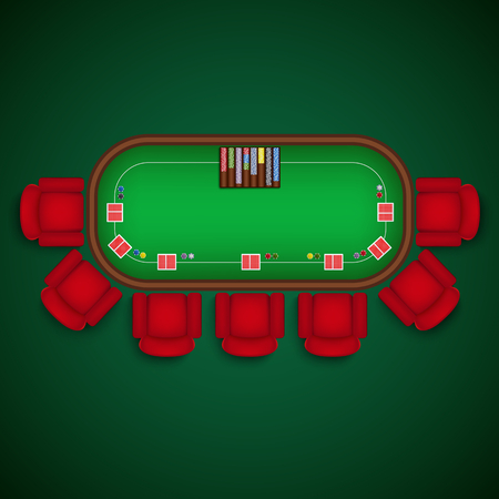 Poker table with chairs and cards chips template vector eps 10