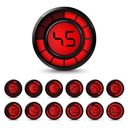 5 分間隔ベクトル eps 10 デジタル黒赤タイマー 写真素材 - 91671233