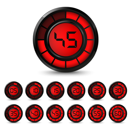 Digital black red timer with five minutes interval vector eps 10 Illustration