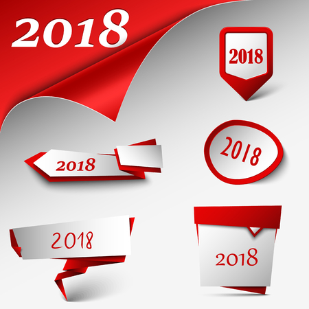 New Year card with collection red design pointers template vector eps 10 Illustration