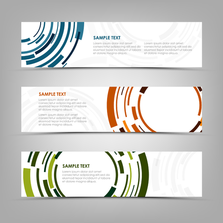 Collection banners with abstract technical color circles template vector