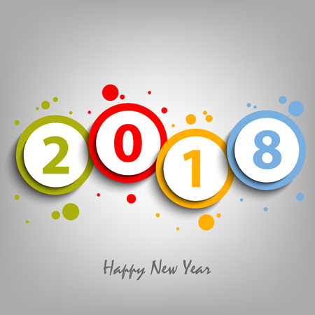 New Year card with colorful design circles and numbers vector