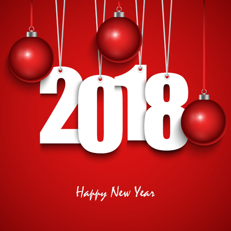 New Year red wishes with hanging numbers and spheres vector Illustration