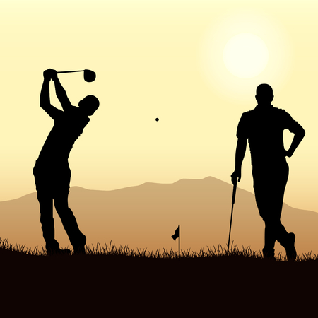 Two golfers silhouette playing on the playground template vector