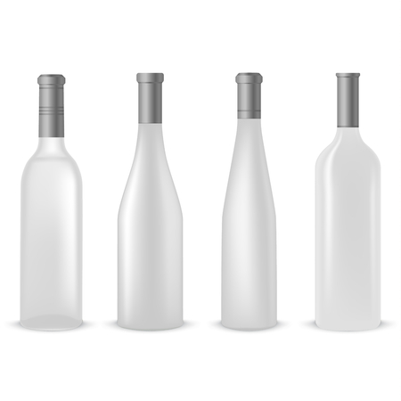Collection of empty clear bottles of wine vector template