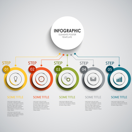 Info graphic with colorful round design indicators in line vector Illustration