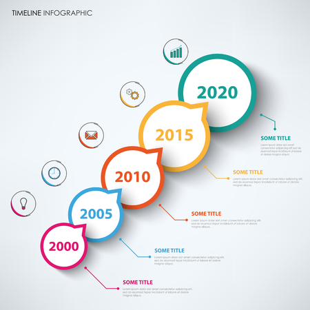 Time line info graphic with circular abstract design pointers vector template
