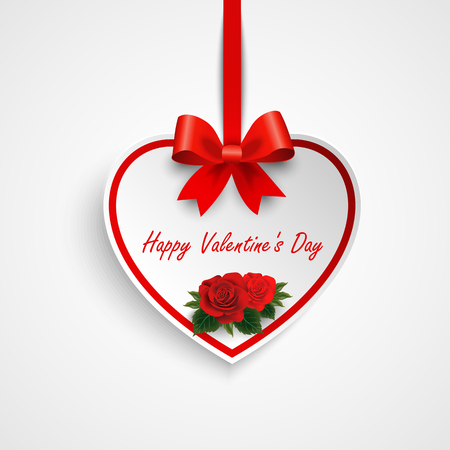 Valentine greeting card with heart and red ribbon roses vector Illustration
