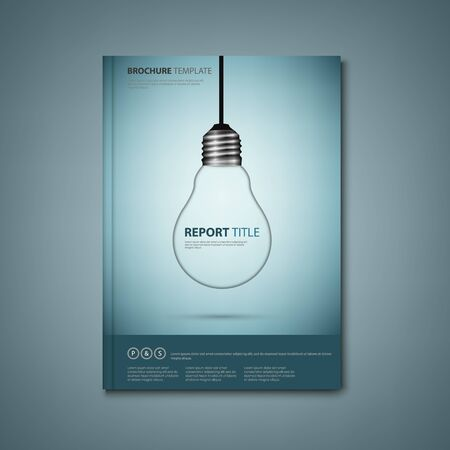 Brochures book or flyer with a design hanging bulb vector Ilustração