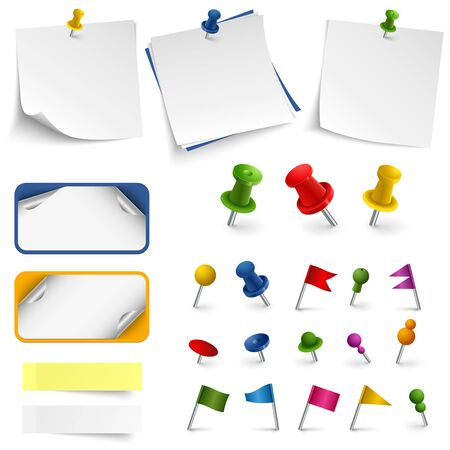 Collection of office supplies labels stickers and pins vector Ilustração