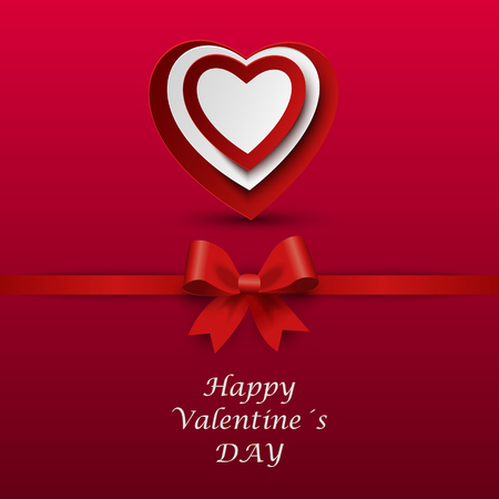 Valentine card with red bow and hearts in the background vector Illustration