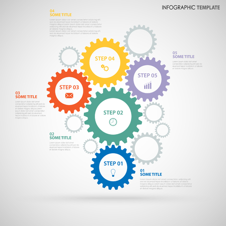 Abstract Info graphic with design colored flat gear wheels template vector eps 10 Illustration