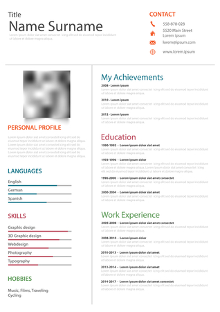 Professional resume cv on white background vector eps 10