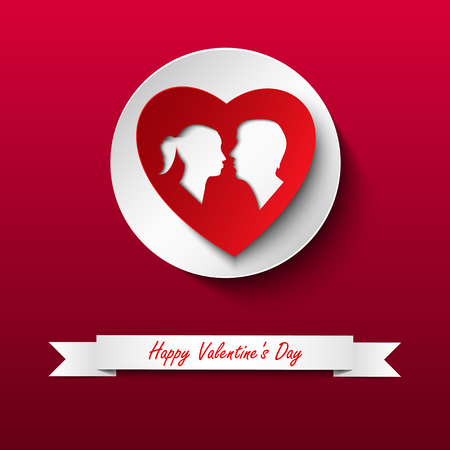 Valentine card with silhouette of lovers on red background vector eps 10