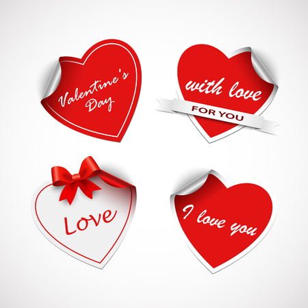 Valentine red heart stickers template vector eps 10