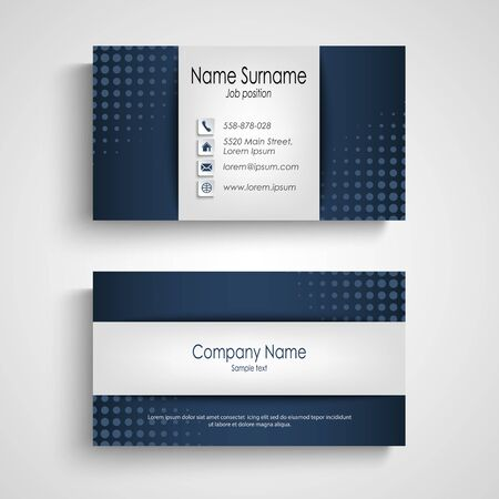 Business card with blue halftone effect template, vector eps 10