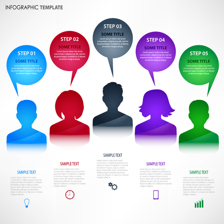 Infographic with colored avatar and talking bubbles template, vector eps 10