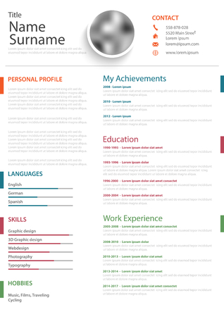 Professional personal resume with colored bookmarks on white background, vector eps 10 Illustration