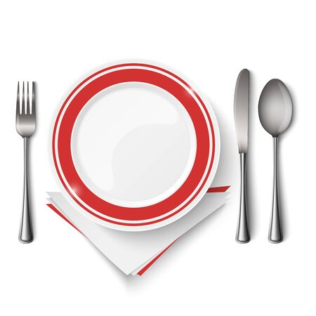 Red white plate with spoon, knife and fork template vector eps 10