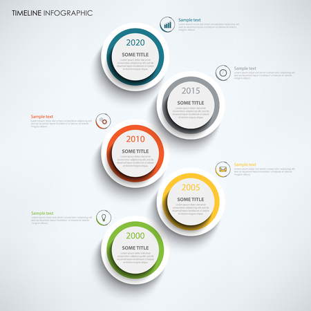 Timeline infographic with large design color circles template vector