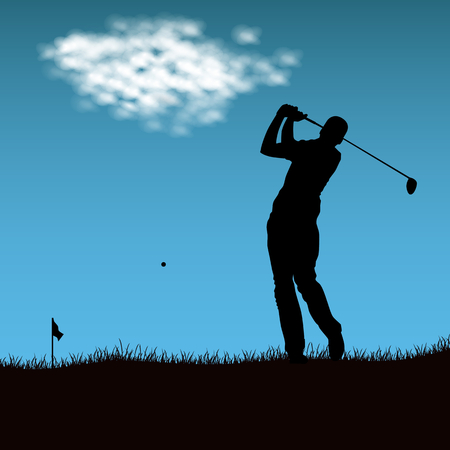 Silhouette of golf player after firing ball vector eps 10 Illustration