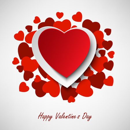 Valentine greeting card with different red hearts in background vector eps 10