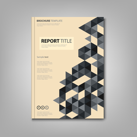 Brochures book or flyer with small triangles in retro style vector.