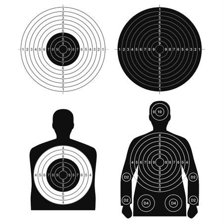 Collection of different targets for shooting template vector. Illustration