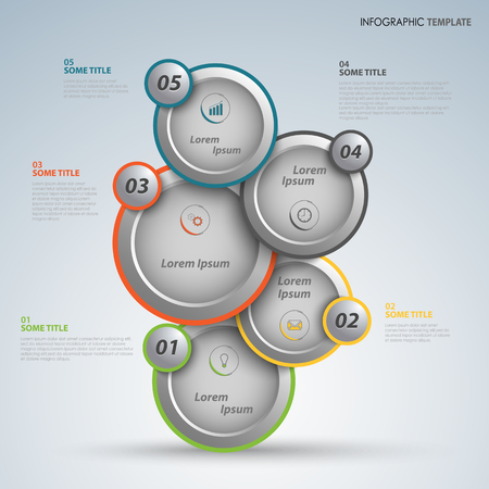 Info graphic with abstract design round pointers template vector.