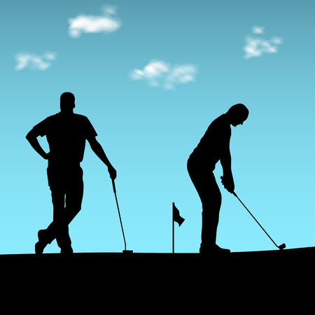Two golfers silhouette playing on the playground vector.