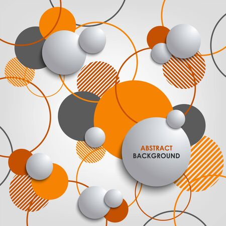 Abstract background with orange circles and bubbles. Illustration