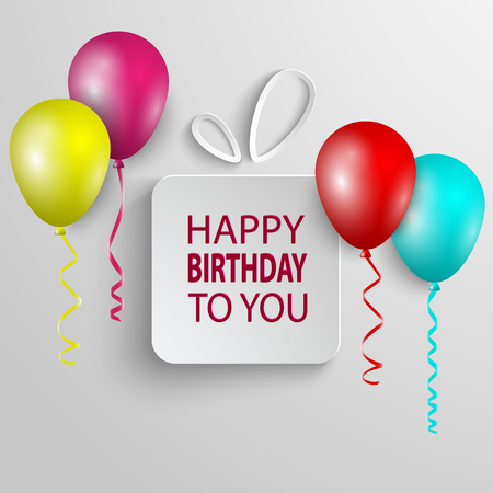 Birthday poster with white gift and colored ballons vector eps 10 Imagens - 96253976