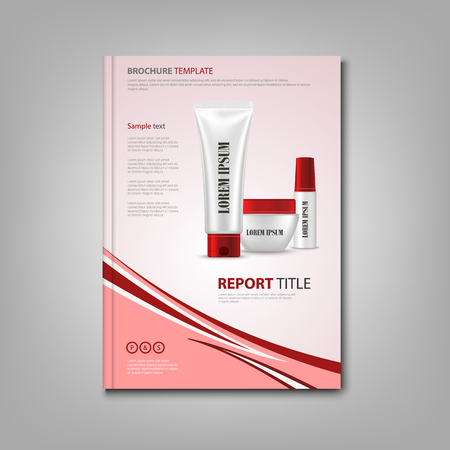 Brochures book or flyer with cosmetic preparations in red design vector eps 10