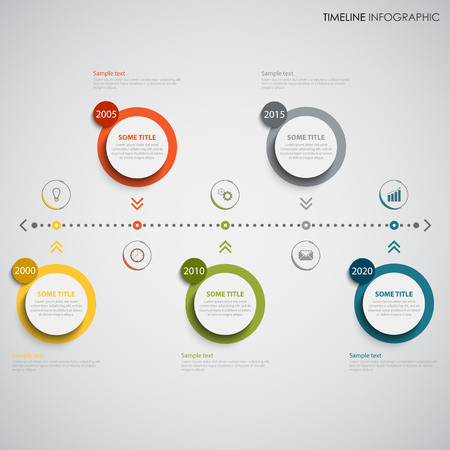 Time line info graphic with colored round design element indicators. Illustration