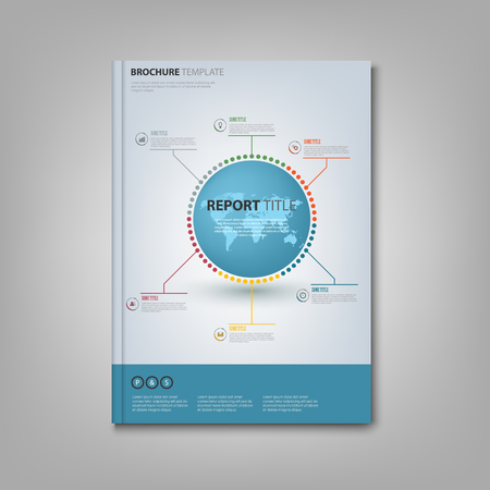 Brochures book or flyer with info graphic on the cover vector  illustration