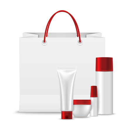 Paper shopping bag with collection of cosmetics template vector illustration.
