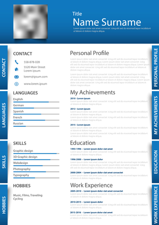 Professional personal resume with labels in blue white design vector illustration. Illustration