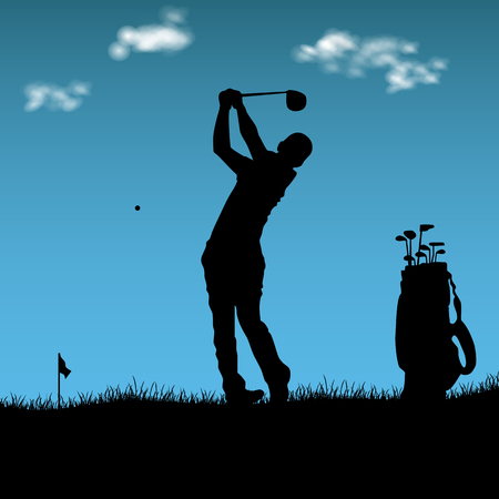 Silhouette of golfer with bag on playground vector illustration.