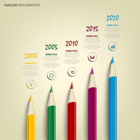 Time line info graphic with colored pencils template vector illustration. Illustration