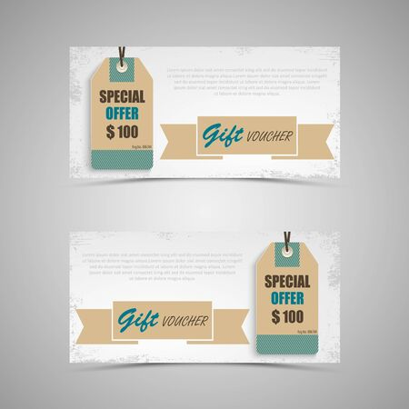 Gift voucher with vintage in retro style template.