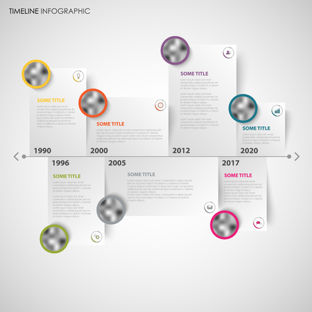 Time line info graphic with note papers and design elements vector.