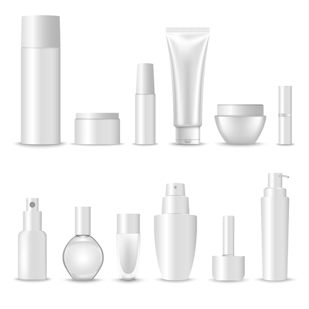 Collection of blank cosmetic preparations design template vector.