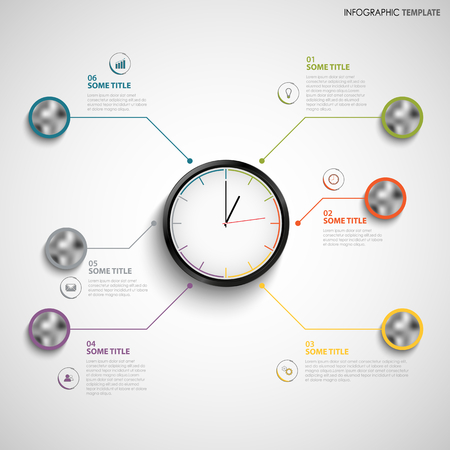 Abstract info graphic with color design clock template vector.