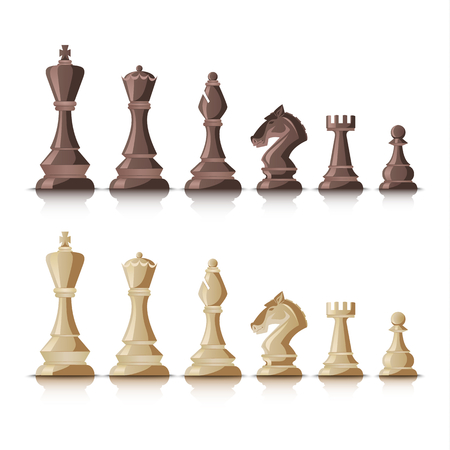 Chess figures dark and bright on white background vector Illustration