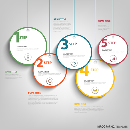 Info graphic with hanging design round labels template vector