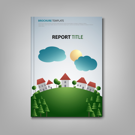 Brochures book or flyer with village and meadow in background vector