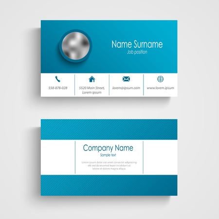 Business card in white blue color and strips template vector