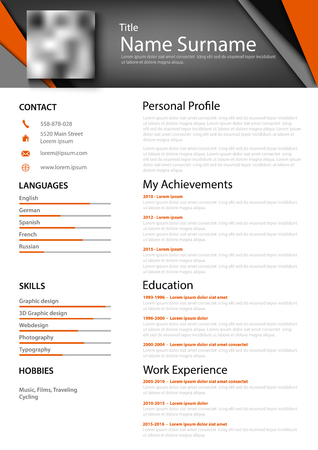 Professional abstract personal resume cv with colored triangles vector 向量圖像