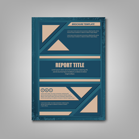Brochures book or flyer with blue brown geometric shapes vector Ilustração